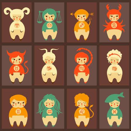 zodiac illustration, cute horoscope signs