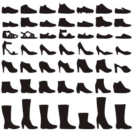 womens clothing: vector fashion shoes silhouette, set of icon boots