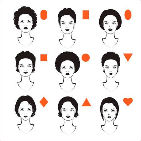 eyebrow makeup: forme vettoriali di donne testa, tipi di forma del viso