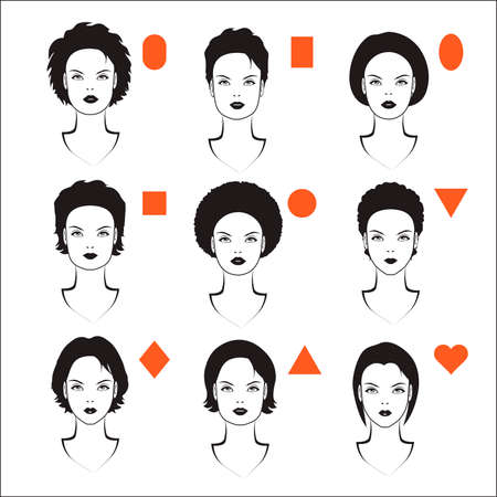 shapes: vector forms of womens head, types of face shape