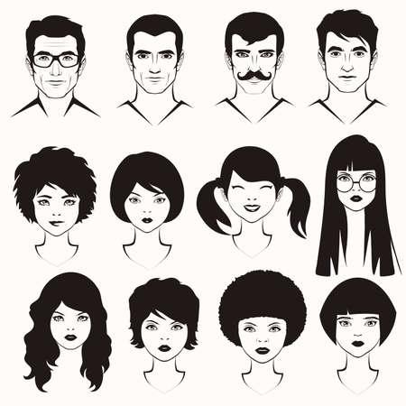 Auge Lippen und Haare, Männer und Frau Gesicht Teile, Kopfzeichen
