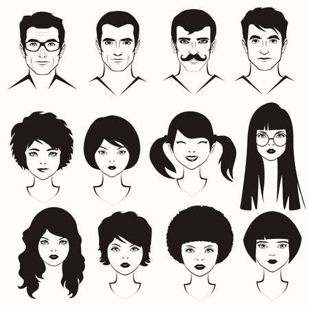 hair style collection: eye lips and hair, men and woman face parts, head character