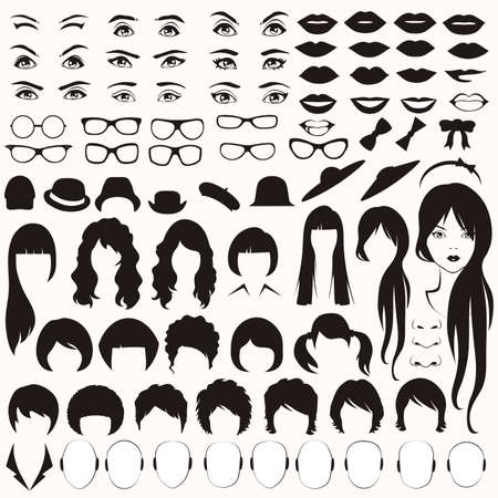 female portrait:  eye, glasses, hat, lips and hair, woman face parts, head character Illustration