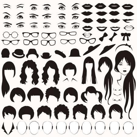 oeil, lunettes, chapeau, lèvres et cheveux, parties de visage de femme, personnage principal Vecteurs