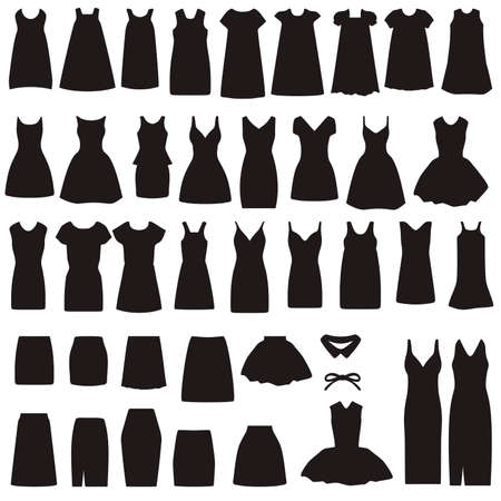 vector de colección de iconos de la ropa, el vestido y la falda aislada silueta