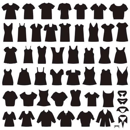 white blouse: colecci�n de vectores de iconos de ropa, camisas y blusas aislados silueta