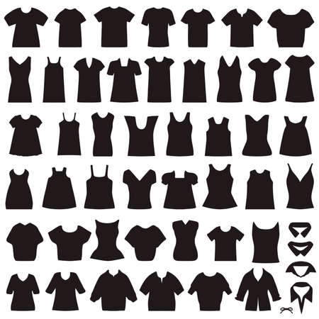 vector collection of clothing icons, isolated shirts and blouses silhouette