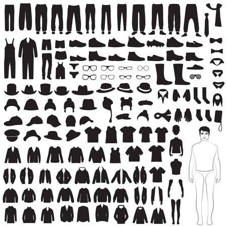 男性ファッションのアイコン、紙人形、孤立した服のシルエット  イラスト・ベクター素材