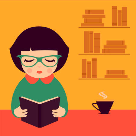 reading woman, book vector illustration,  Vector