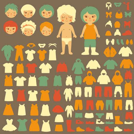 아기 아이콘, 종이 인형, 절연 패션 의류 실루엣의 벡터 컬렉션