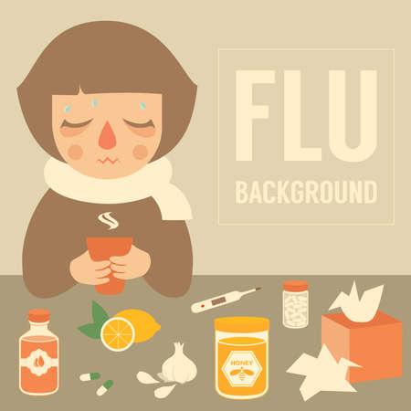 gripe: mujer fría, ilustración vectorial médica, síntomas de la gripe