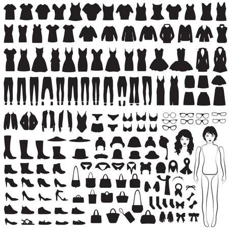 女性のファッションのアイコン、紙人形、孤立した服のシルエットのベクター コレクション