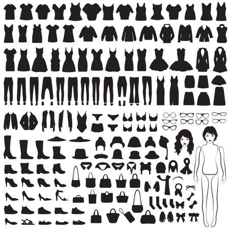 vector collection of woman fashion icons, paper doll, isolated clothing silhouette Ilustração