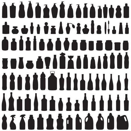 botellas de plastico: botella icono de la colección, el vector aislados silueta de paquete,