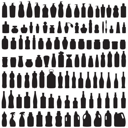 bottle icon collection,  vector isolated silhouette of package,