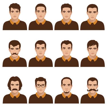 viso di uomo: avatar persone icona, uomo parti del viso, carattere testa