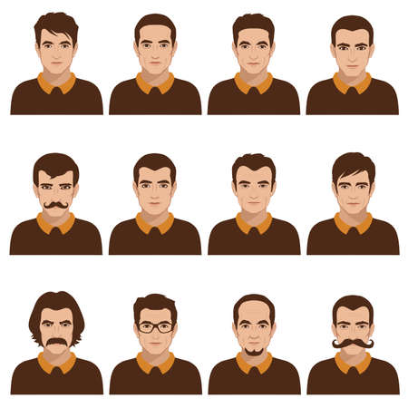 avatar people icon, man face parts, head character