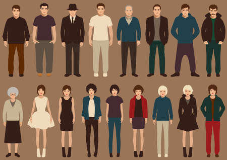 sexy business woman: fashion vector collection of people, cartoon retro characters Illustration
