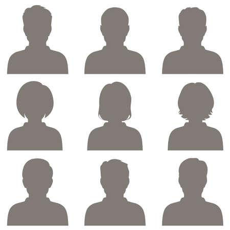 visage profil: vecteur avatar, ic�ne profil, t�te silhouette