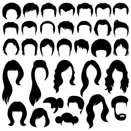 cabello: siluetas de pelo, mujer y hombre peinado
