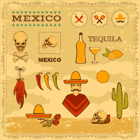 vector mexican icons, mexico stamp illustration Vector