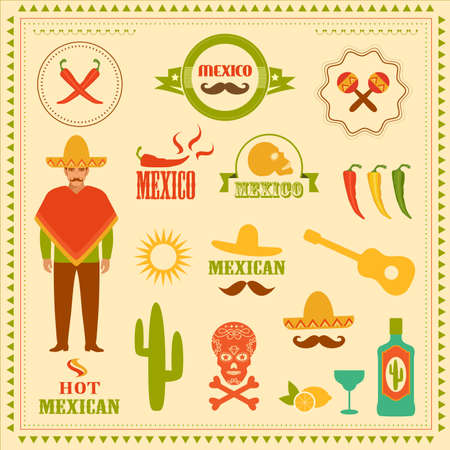 vector mexican icons, mexico stamp illustration Illustration