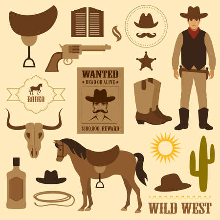 element: wild west icon, western wanted cowboy poster