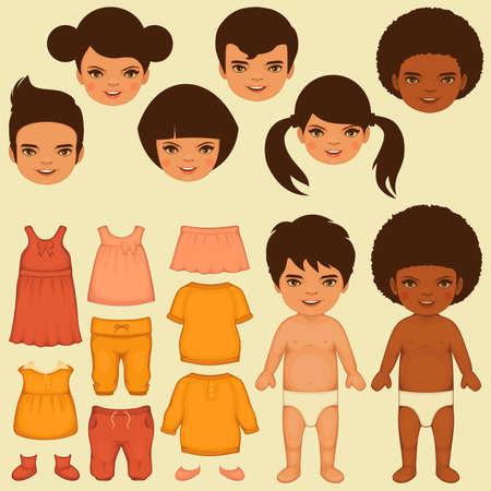 ベクターの子供の顔、紙人形、分離服ファッションのアイコン