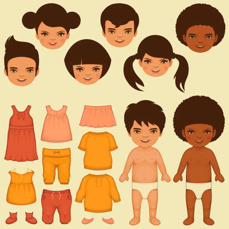 black baby boy: vector kids face, paper doll, isolated clothing fashion icons