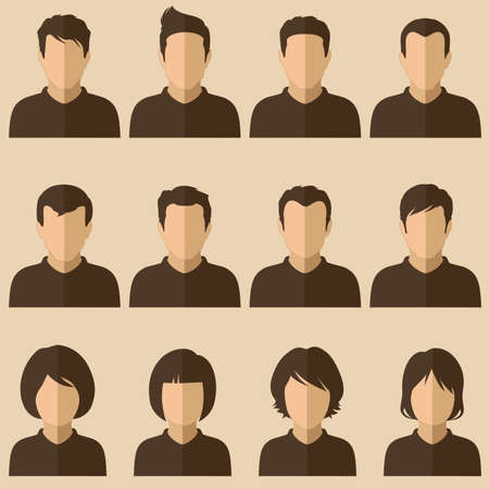 male face profile: vector design of people avatars, flat user face icon