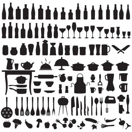 set silhouetten van keukengerei, koken pictogrammen Stock Illustratie