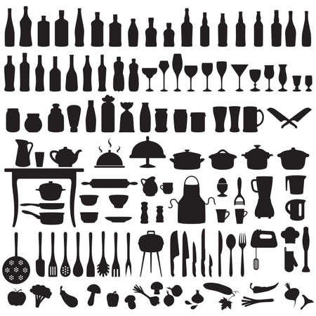 set silhouettes of kitchen tools, cooking icons Banco de Imagens - 31062619