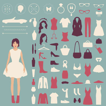 coat hanger: fashion icons, collection of woman accessories Illustration