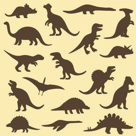 set silhouettes of dinosaur,animal illustration Vector