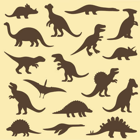 tiranosaurio rex: set siluetas de dinosaurio, ejemplo animal Vectores