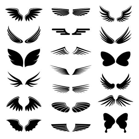 wings icon: vettore set angelo e ali di uccello, icona silhouette illustrazione Vettoriali