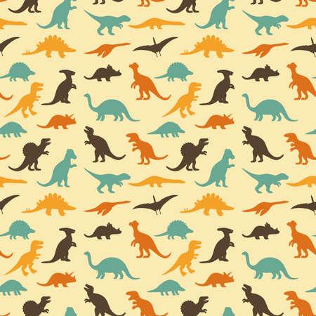 恐竜: シルエット恐竜、動物のイラスト、レトロ パターン背景のベクトルを設定