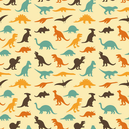vector set of silhouettes dinosaur, animal illustration, retro pattern background