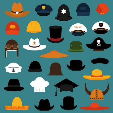 kapelusze: wektor zestaw ilustracji kapelusz i peleryna, ikony mody ustawić izolowane