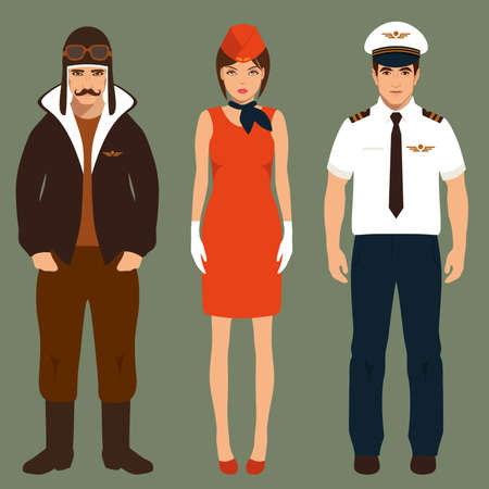 people standing: pilot and stewardess