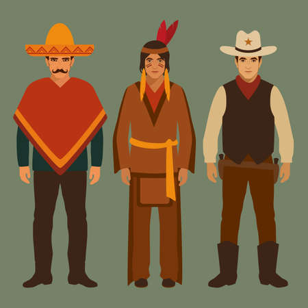 cowboy cartoon: cowboy, indian and mexican, american people, traditional culture Illustration