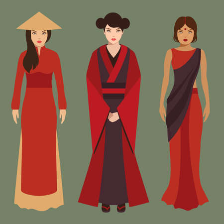 tanzen cartoon: Chinesisch, Japanisch und indischen Frauen, Asiaten f�r traditionelle Kultur