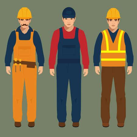 builder, engineer man, vector illustration, cartoon construction worker Vettoriali