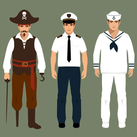 captain cap: pirate, captain and sailor characters, vector cartoon illustration,