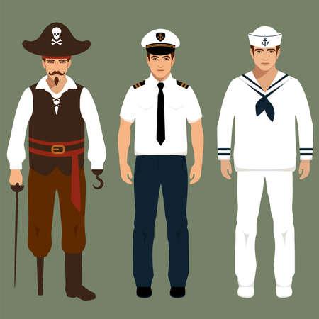 seaman: pirate, captain and sailor characters, vector cartoon illustration,