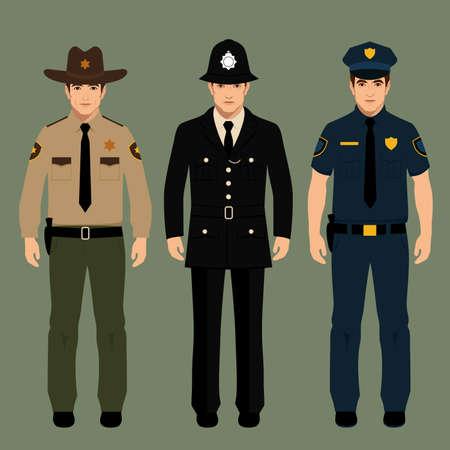 gorra policía: policía británica y uniforme sheriff, vector policiales oficiales gente, profesión ilustración vectorial Vectores