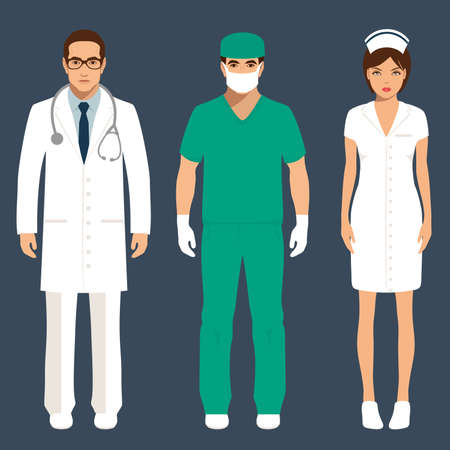 의사와 간호사 인력, 병원 직원 사람들, 벡터 의료 아이콘 그림 일러스트