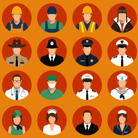 vector icon workers, profession people, cartoon vector illustration Stok Fotoğraf - 34972082