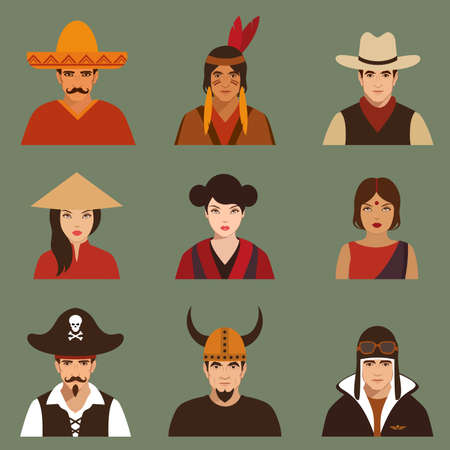 woman face: vector different characters pirate, pilot, cowboy, viking, mexiacn, indian, american and asian people faces, Illustration