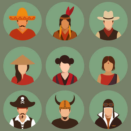 chinese american: vector different characters pirate, pilot, cowboy, viking, mexiacn, indian, american and asian people faces, Illustration